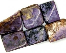 PURPLE CHAROITE 6 RECTANGLE STONES 74 CTS ADG-348