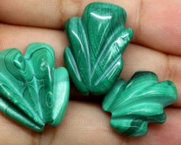 MALACHITE  CARVINGS 3 STONES 56.25 CTS LT-494