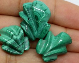 MALACHITE  CARVINGS 3 STONES 49 CTS LT-496