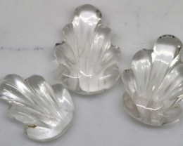 CLEAR QUARTZ 3 CARVINGS 21.50 CTS LT-520