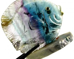 COLOURFUL FLUORITE FISH CARVING  125.75 CTS[MX7184 ]