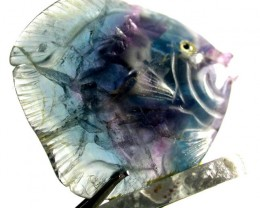 COLOURFUL FLUORITE FISH CARVING  102.35 CTS[MX7191 ]