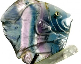 COLOURFUL FLUORITE FISH CARVING  99.70 CTS[MX7194 ]