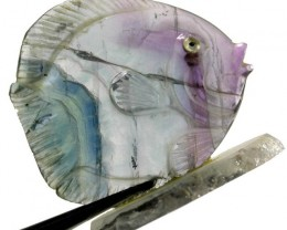 COLOURFUL FLUORITE FISH CARVING  114.60 CTS[MX7201 ]