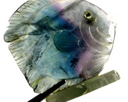 COLOURFUL FLUORITE FISH CARVING  94.25 CTS[MX7202 ]