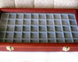 Gemstone Display Case Jarrah Glass Lid 50 Compartment JD-50