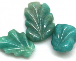 AMAZONITE CARVINGS 3 STONES 15.70 CTS LT-500