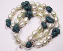 NECKLACES L0638 AAA QUALITY FRESHWATER PEARLS WITH TURQUOISE