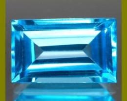 SWISS BLUE TOPAZ 1.60 CARAT WEIGHT BAGUETTE CUT GEMSTONE NR