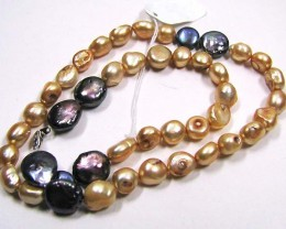 NECKLACE CHAMPAGNE COLOR PEARLS/GREYISH PENNY PEARLS LK0639