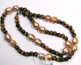 NECKLACE TIGER EYE BEADS/ FREEFORM CHAMPAGNE  PEARLS LK0646