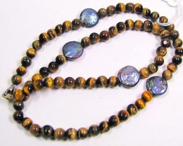 NECKLACE TIGER EYE WITH PENNY GREY PEARLS LK 0642