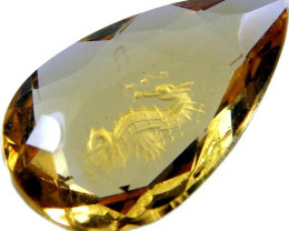 FACTED STONE- INTERNAL CARVING NATURAL CITRINE