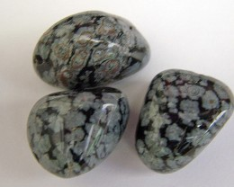 SNOWFLAKE OBSIDIAN BEADS 3pcs Parcel 76.15 CTS AS  5311