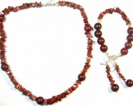 BRECIATED JASPER AND GOLD SAND STONE GEMSTONE BEADS 4PC SET G449