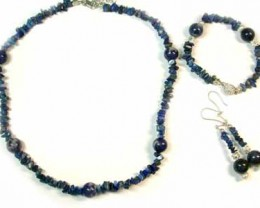 SODALITE AND LAPIS WITH SOUTH SEA PEARLS GEMSTONE BEADS 4PC SET G451