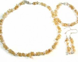 TOPAZ WITH SOUTH SEA PEARLS GEMSTONE BEADS 4PC SET G453