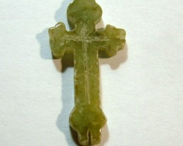 JADE CROSS CARVING  DRILLED 10 CTS NP-1008