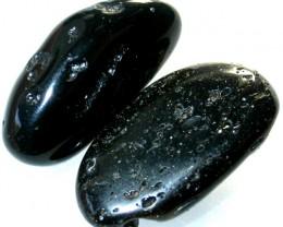JET BLACK TEKTITE PAIR [2]-GHANA 64.75 CT [MX 7287]
