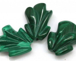 MALACHITE  CARVINGS 3 STONES 58.65 CTS LT-493