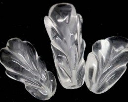 CLEAR QUARTZ 3 CARVINGS 27.50 CTS LT-482