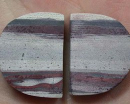 PAIR OF ZEBRA ROCK STONES  72CTS  G1295