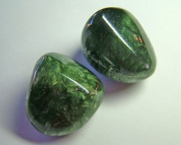 GREEN SERAPHINITE 2 pcs parcel   CTS- 82.35     AS 5561