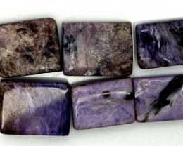 PURPLE CHAROITE 6 RECTANGLE STONES 76 CTS ADG-372