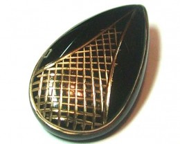 BLACK ONYX 24K GOLD ENGRAVED 25CTS  AS5603