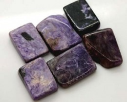 PURPLE CHAROITE 6 RECTANGLE STONES 77 CTS ADG-362