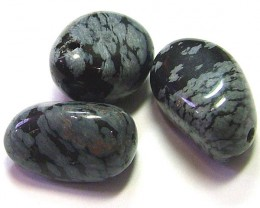 SNOWFLAKE OBSIDIAN BEADS 3pcs Parcel   69.15 CTS AS5736