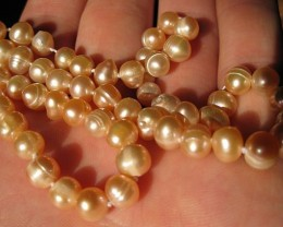 """17"""" freshwater pink pearl necklace 6.5mm pearls P21"""