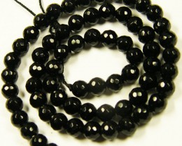 FACED BLACK AGATE BEAD STRAND   100.85 CARATS    AAT 1593