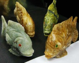 FOUR LARGE PERU FISH  CARVING    1480.05 CARATS  AAT 1624