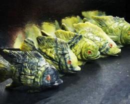 FIVE LARGE PERU FISH  CARVING  1652.45 CARATS AAT 1631