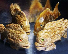 FOUR LARGE PERU FISH  CARVING  1803.95 CARATS AAT 1633