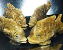 FOUR  LARGE PERU FISH  CARVING          AAT 1637