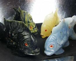 FOUR LARGE PERU FISH  CARVING     AAT 1645