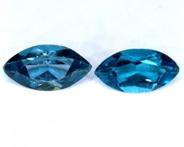 BLUE TOPAZ NATURAL FACETED (2 PC) 1.25 CTS   PG-1288