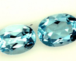 BLUE TOPAZ NATURAL FACETED (2 PC) 1.90 CTS  PG-1255
