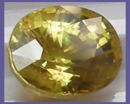 STUNNING 2.35CT YELLOW SPHENE TITANITE WITH RAINBOW SPARK!!