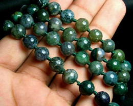 100% Natural Moss Agate Round Beads B398
