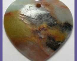 """AWESOME MULTI-COLORED AMAZONITE HEART SHAPED PENDANT BEAD"""