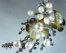 DESIGNED FRESHWATER PEARL PIN 99.5 CTS[SX22]