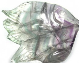 COLOURFUL FLUORIDE FISH CARVING LARGE  82.5CTS [MGW316]