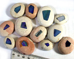 PARCEL 10 LARGE OPAL INLAY BEADS . RN1415