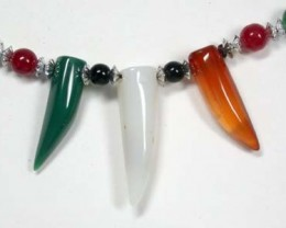 NR NEW TRIBAL TOOTH SHAPE AGATE NECKLACE  TR83