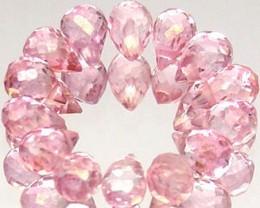 14pcs, 10.02 Tcw. Pink Topaz Briolettes VS