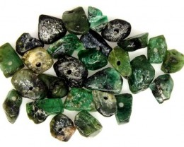 EMERALD BEAD UNTREATED DRILLED 26 PCS 41 CTS  NP-1329