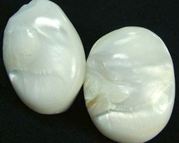 PAIR PEARLY WHITE IRRESESENT BEAD-DRILLED 109.80CTS [PF1697]